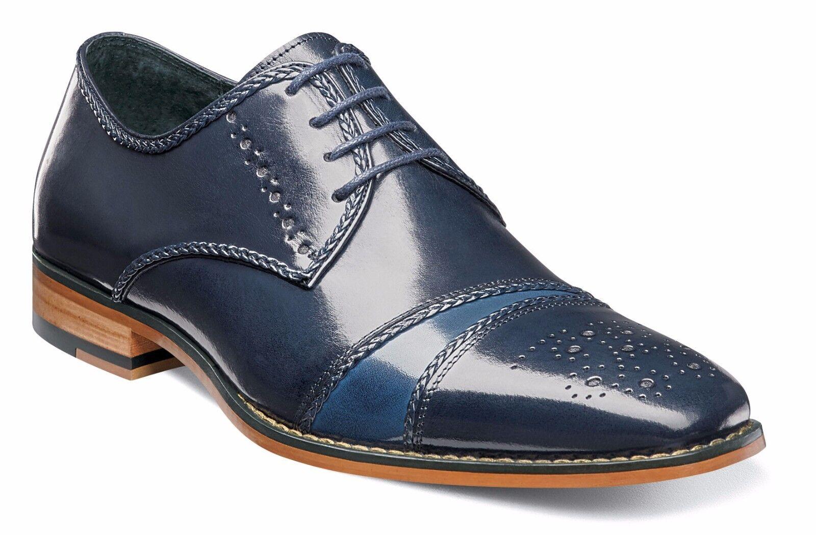 Stacy Adams Hombre Azul Marino Multi Talbot Gorra Punta Oxford Zapato