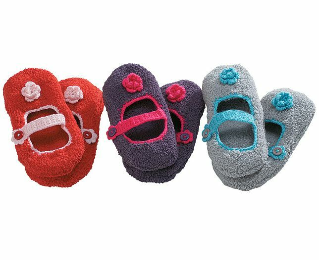 Ladies Soft Slipper Socks With Cute Crocheted Flower & Trim Red Purple or Grey