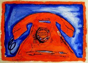 Large-Original-Watercolour-80cm-x-60cm-Belfast-Telephone-Art-by-Harv