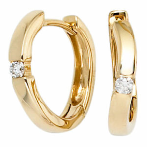 13-8mm-Creolen-Ohrringe-mit-Diamanten-Brillanten-585-Gold-Gelbgold-Goldohrringe
