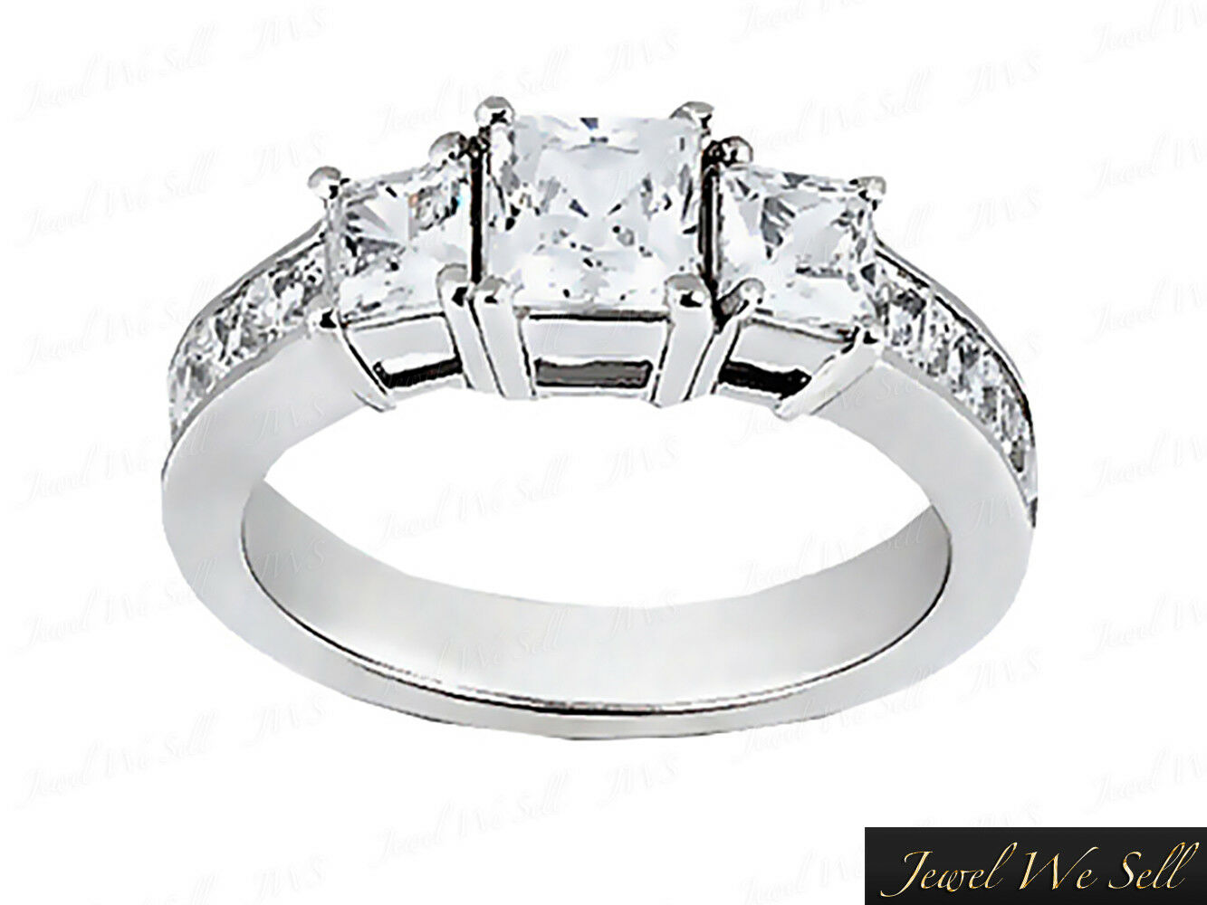 Genuine 0.75ct Princess Diamond Three Stone Basket Ring 14kt White gold I SI2