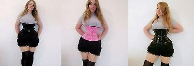 overbust Hobble corset black satin tight lacing steel bones dress uk