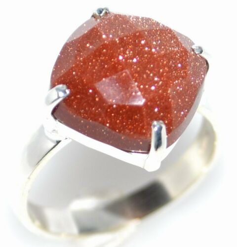 K to 12 Gold Sandstone Sterling SILVER Ring Facet cut Sun stone 925 Sizes 5 Y