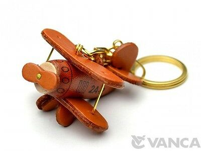 Propeller Airliner Handmade 3D Leather (L) Keychain *VANCA* Made in Japan #56107