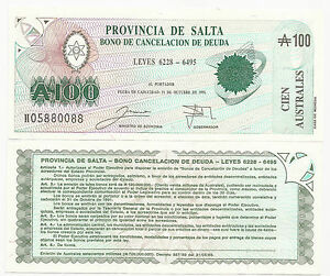 S-2623 UNC C-068 CAT PR $ 10 ARGENTINA SALTA AUSTRALES 100.