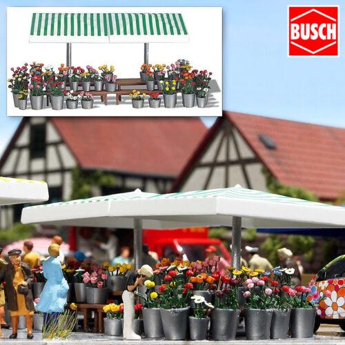 + NEU /& OVP BUSCH 1072 H0 Marktstand Blumen