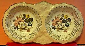 Porcelain-Ceramic-Old-Foley-James-Kent-2-Section-Relish-Dish-Collectors-Antique