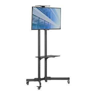 Image Is Loading Mobile Cart Black Floor Tv Trolley Stand With