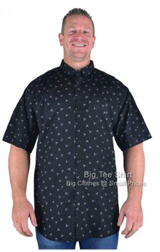 Big Mens Black Espionage Kingfisher Short Sleeve Shirt 2XL 3XL 4XL 5XL 6XL 7XL