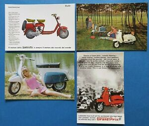 Complete-Set-of-4-Lambretta-Scooter-Postcards-by-Vintage-Motor-Scooter-Club