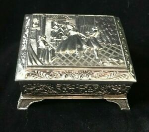 Vintage Jewelry Box Footed Casket Silverplated Dancing Couple & Violinist