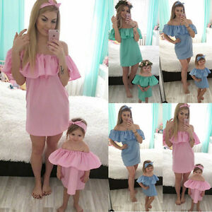 3c8f99a9c1 Image is loading Family-Dresses-Mother-Daughter-Matching-Summer-Baby-Girl-