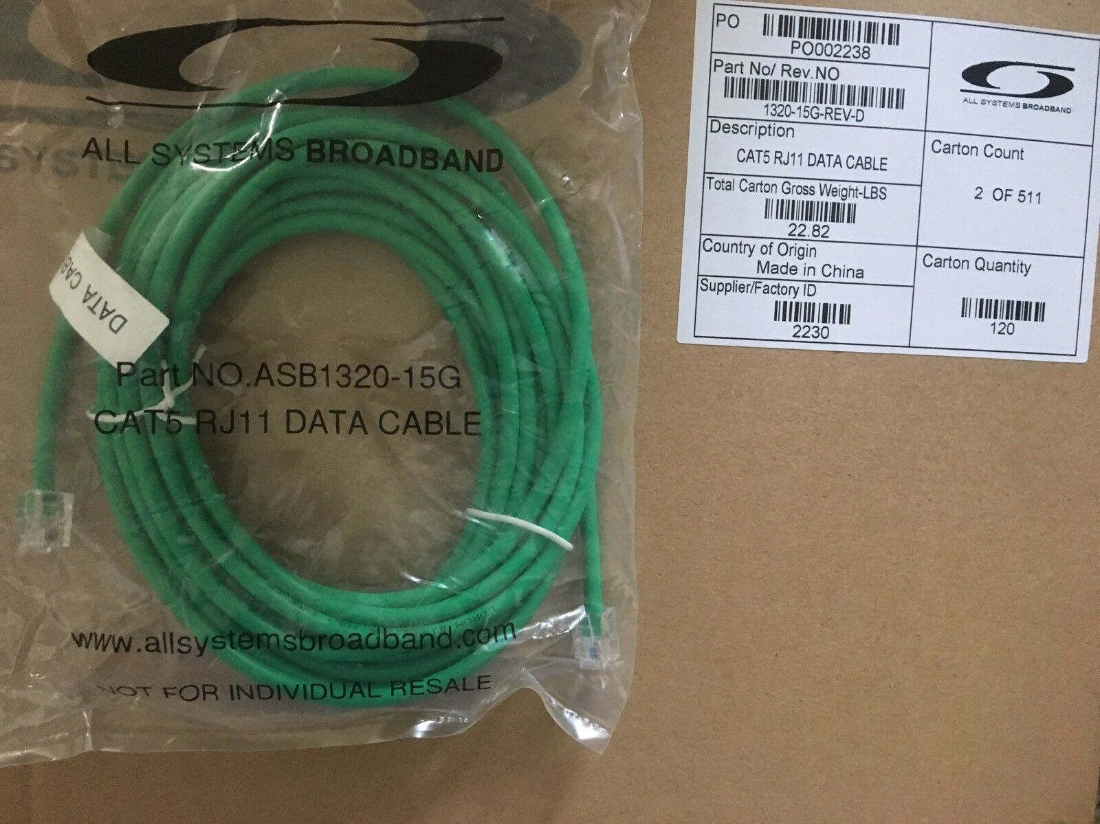 Telephone CAT5 7FT 14FT 15FT RJ11-RJ11 6P4C Data Cable-ALL SYSTEMS BROADBAND