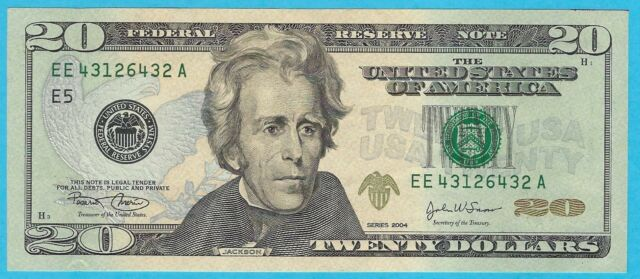 $20.00 Federal Reserve Note - 2004  - Marin/Snow - EE43126432A