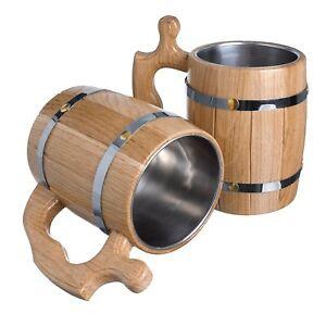 Details About Large Beer Tea Mug Mugs Barrel Cup Wooden Natural Oak Wood 17 Oz 05 L Gift