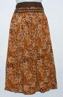 R.q.t Petite Ladies east Wind Animal Print Crinkle Skirt Brown 12p