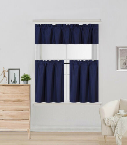 """3PC SET ROOM DARKENING WINDOW CURTAIN SMALL LINED PANELS IN 24/"""" LENGHT K4"""