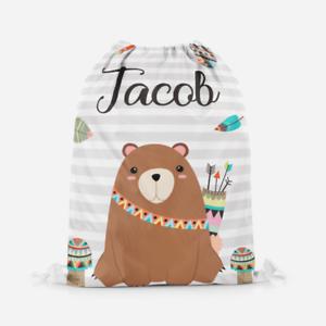 Personalised Boys Bear Native Kids Drawstring Bag Pe Bag Swimming School Bag