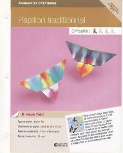 Détails Sur Origami Modèle Pliage Papier Insectes Fiche Technique N 7 Papillon