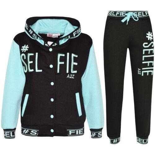 Enfants Filles Garçons Survêtement Designer # Selfie Brodé Jogging Suit Haut /&