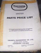 TRUIMPH MASTER PARTS PRICE LIST MANUAL