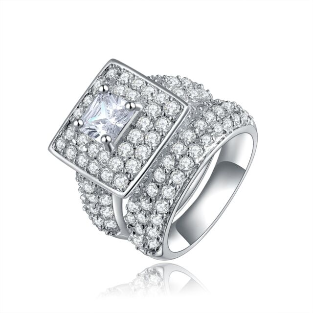 Size 6,7,8,9,10 Womens Stainless Steel White Sapphire Engagement Ring Sets 2Pcs