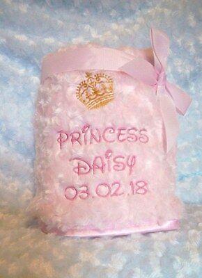 Personalised Baby Blanket LITTLE PRINCESS PRINCE ROSE BUD FLUFFY BLANKET