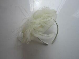 Handmade-FASCINATOR-Cream-Soft-Feathers-Sinamay-Wedding-Races-51A