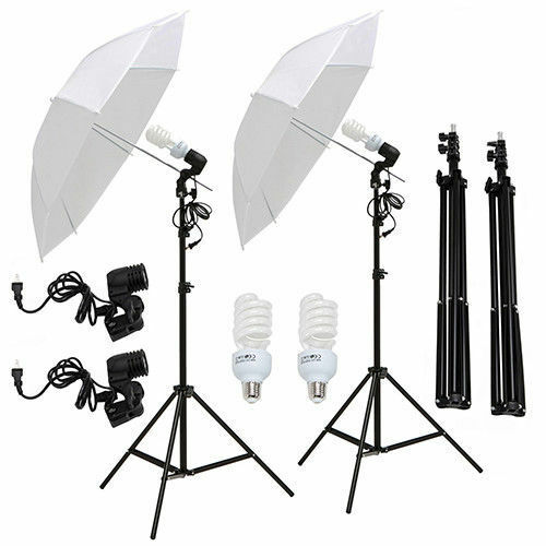 "Kenwell 2x 33"" Photography  White Umbrella Reflector Lamp Stand Lighting Kit"