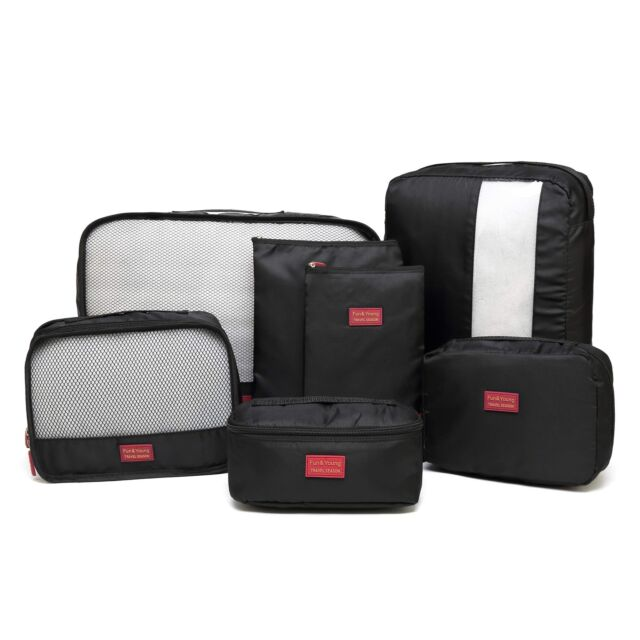 7e3ea83fe9b0 7 Packing Cubes Travel Luggage Organizer Compression Pouches Black Durable  Cute