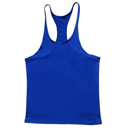 EL Mens Bodybuilding Vest Workout Tank Muscle Stringer Singlet Racer Y Back UK