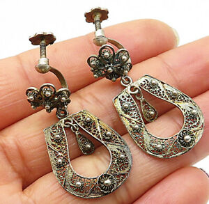 925-Silver-Vintage-Laced-Filigree-Floral-Non-Pierced-Screw-Back-Earrings-E4041