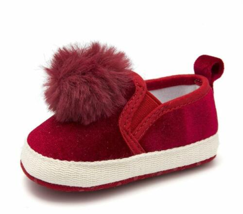 Newborn Baby Girls Velvet Pram Shoes Infant Slip-on Pom Pom First Shoes 0-18 M