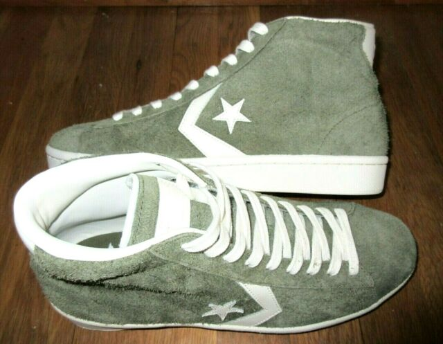 Converse Mens Pro Leather 76 Mid Top All Star Shoes Medium Olive Green Size 10