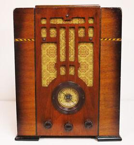 Old Antique Wood Coronado Vintage Tube Radio - Restored & Working Deco Tombstone