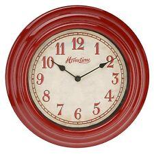 Hometime  Retro Design Red Kitchen Bedroom 30cm Wall Clock