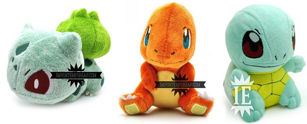 POKEMON BULBASAUR CHARMANDER SQUIRTLE 3 SOFT TOY PUPPETS STARTER 1° GENERATION x