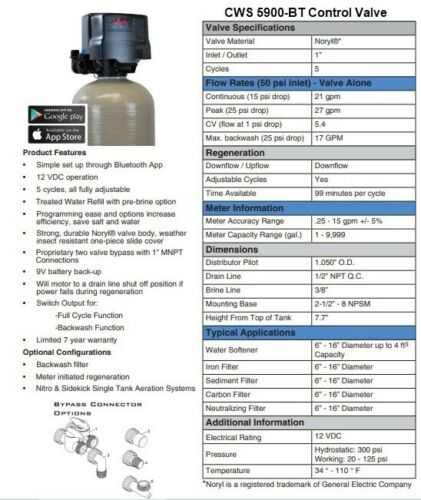 Nitrate & Sulfate Well Water Filter Whole House Well Water Filter 5900-BT 2.5 CF