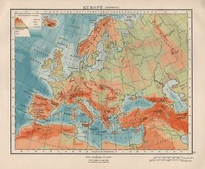1920 VINTAGE MAP- EUROPE, PHYSICAL MAP | eBay