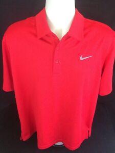 Nike-Golf-Dri-Fit-red-polo-shirt-Men-039-s-L