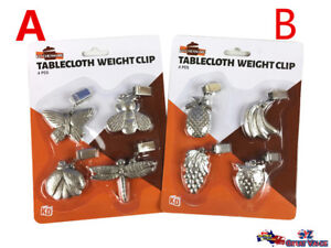 Pack-of-4-Silver-Tablecloth-Table-Cloth-Weight-Clip-Insect-or-Fruit-KD02244