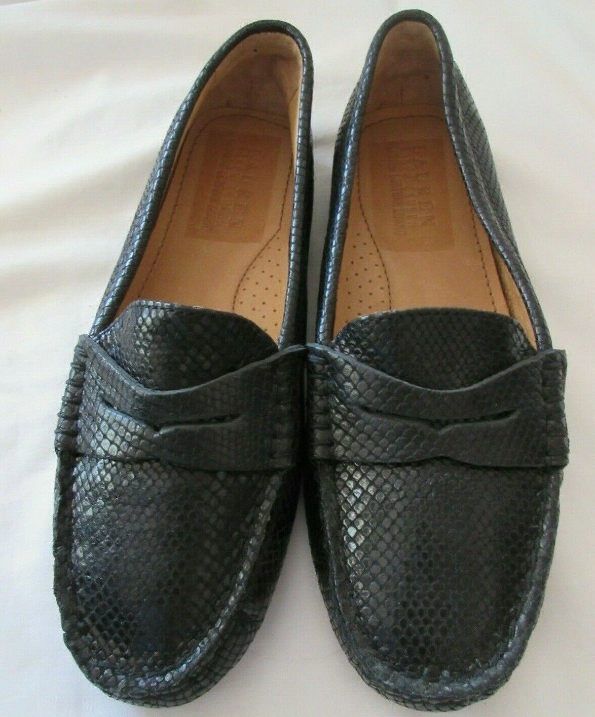 RALPH LAUREN Camila Wouomo 6.5 B nero Leather Snakeskin Driving Loafers nuovo