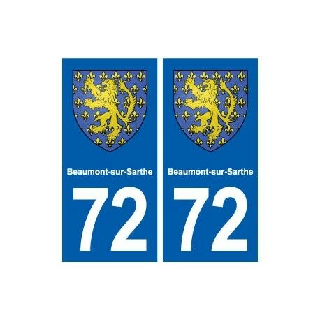 72 Beaumont-sur-Sarthe blason autocollant plaque stickers ville droits