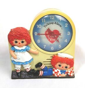 Vintage-1974-Janex-Raggedy-Anne-amp-Andy-Equity-Talking-Alarm-Clock-Parts-Repair