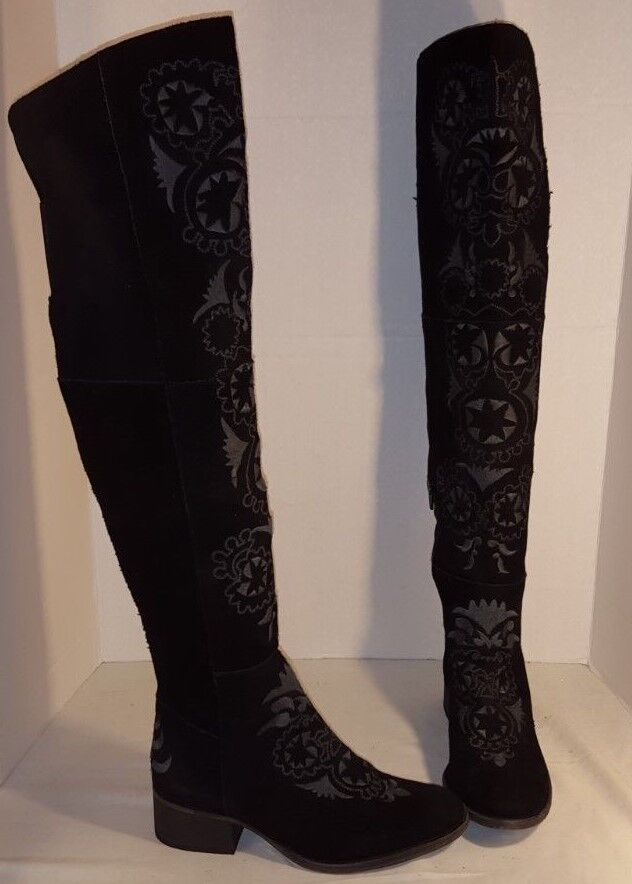 NEW FREE PEOPLE WOMEN'S BLACK HIGH NOON EMBROIDERED SUEDE TALL BOOTS US 7