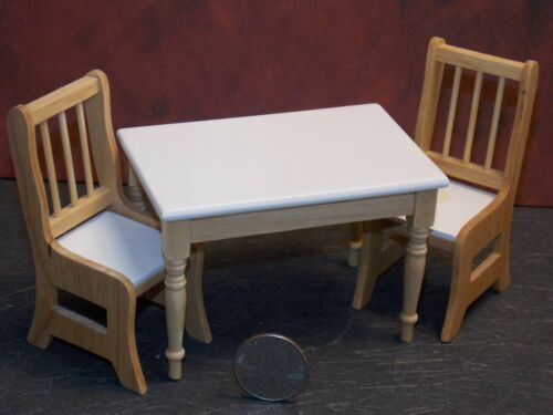 Dollhouse Miniature White Oak Kitchen Table /& Chairs Set 1:12 one inch scale P52