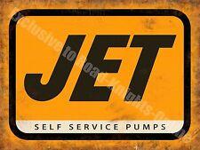 Jet Petrol, Self Service Pumps Old Vintage Garage Station, Small Metal/Tin Sign
