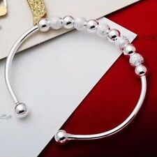 Sterling 925sterling solid Silver Cute beaded Charm Cuff Bracelet bangle Y279
