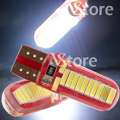 2 Led T10 24 Smd 4014 Lampade Canbus No Errore Luci Bianco Gel Silica Cob