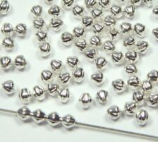 300 Shiny Silver Plated Brass Beads 3mm Corrugated Double Cone Spacer Metal